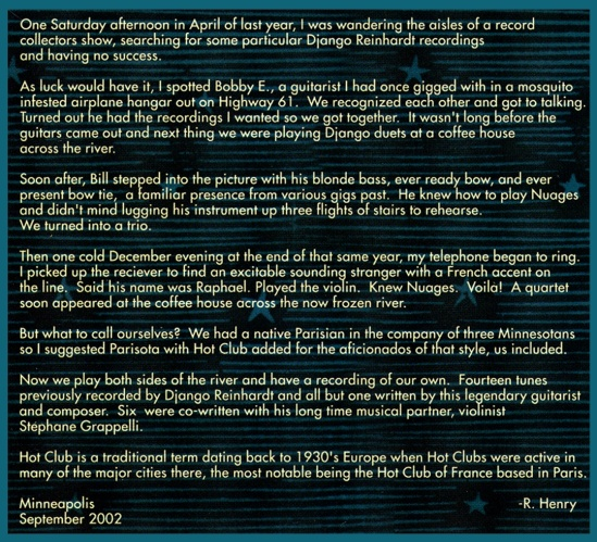 "Liner Notes from ""Swing in Djune"" 2002"