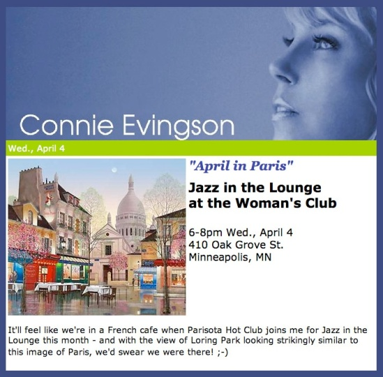 Connie Evingson with Parisota Hot Club April 4th Woman's Club of Minneapolis