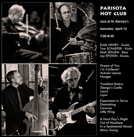 Upcoming Date – Jazz at St. Barney's – Saturday April 12th 7:00-8:30