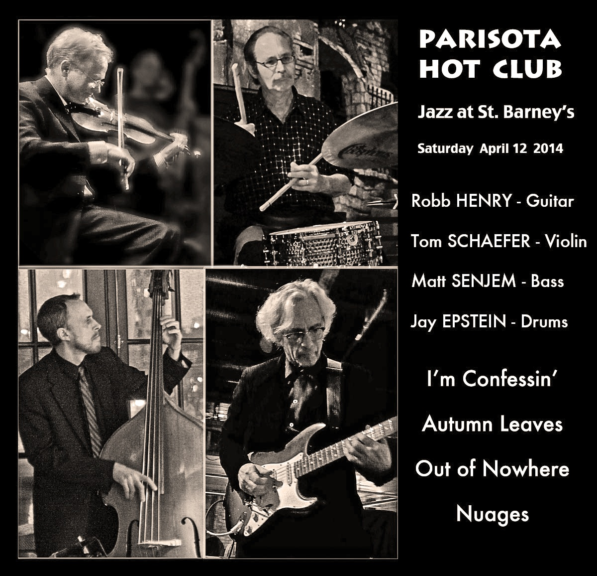 Parisota Hot Club Live at St. Barney's April 12 2014