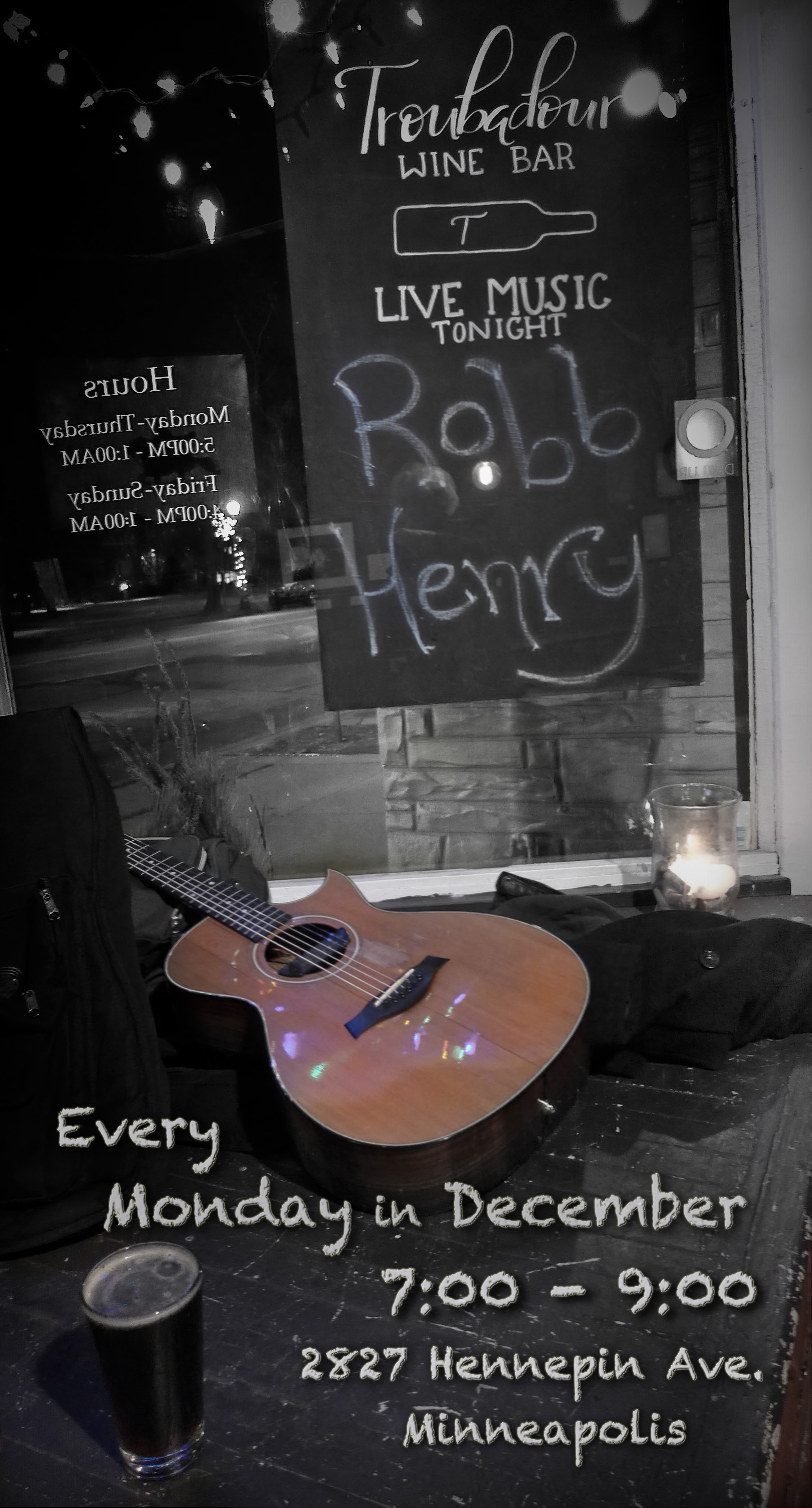 Every Monday in December at the Troubadour Wine Bar